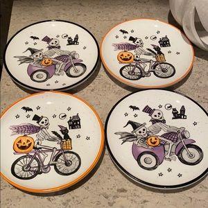 Halloween Ceramic Appetizer Plates. Set of 4.